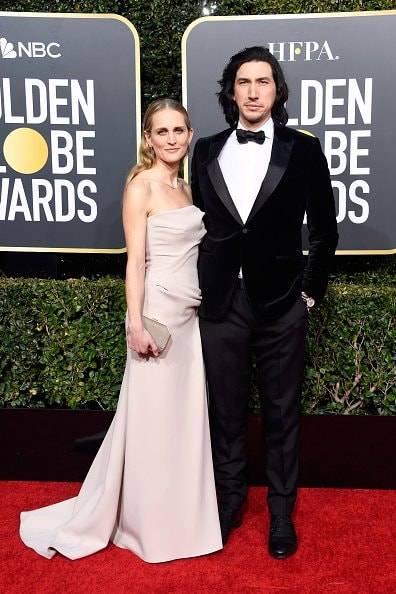 BEVERLY HILLS, CA - JANUARY 06:  Joanne Tucker (L) and Adam Driver attend the 76th Annual Golden Globe Awards at The Beverly Hilton Hotel on January 6, 2019 in Beverly Hills, California.  (Photo by Frazer Harrison/Getty Images)
