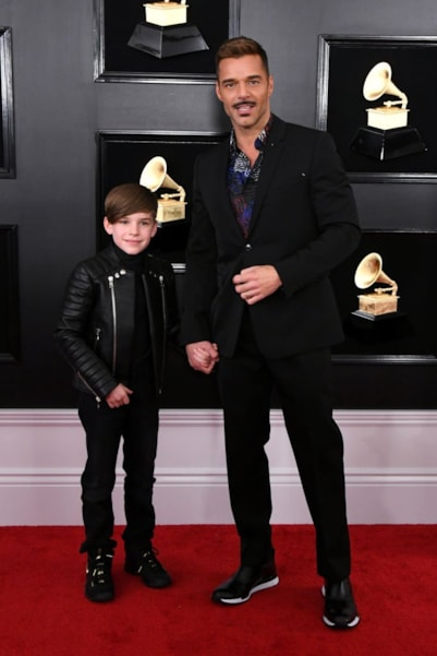 LOS ANGELES, CALIFORNIA - FEBRUARY 10: Ricky Martin (R) and son attend the 61st Annual GRAMMY Awards at Staples Center on February 10, 2019 in Los Angeles, California. (Photo by Jon Kopaloff/Getty Images)