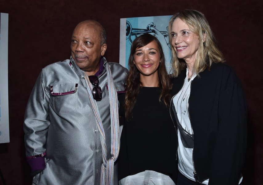 "LOS ANGELES, CA - SEPTEMBER 17:  Producer Quincy Jones, actress Rashida Jones and actress Peggy Lipton arrive to the premiere of RADIUS-TWC's ""Keep On Keepin' On"" at Landmark Theatre on September 17, 2014 in Los Angeles, California.  (Photo by Alberto E. Rodriguez/Getty Images)"