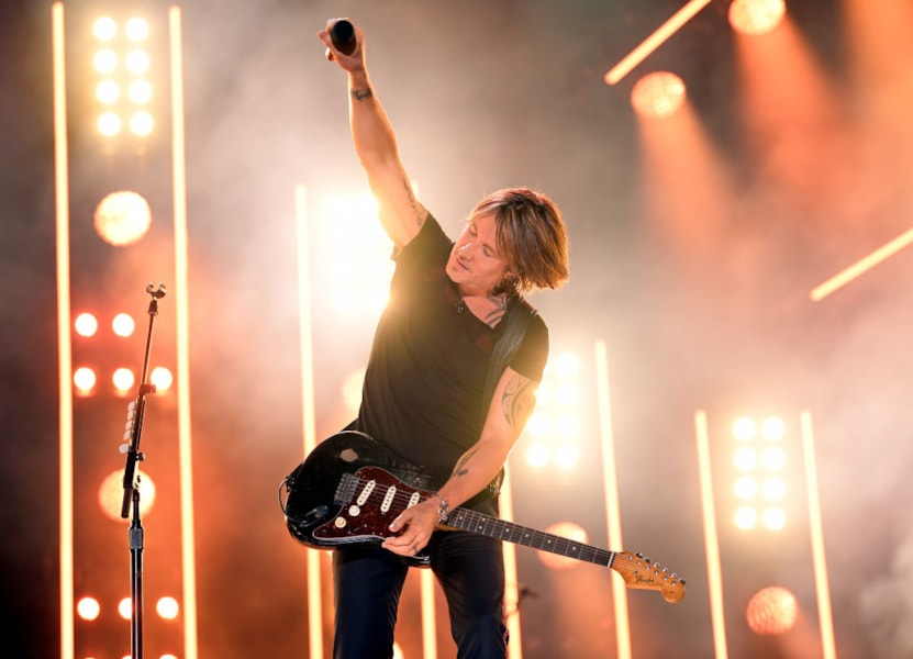 Keith Urban performs on stage for day 4 of the 2019 CMA Music Festival.